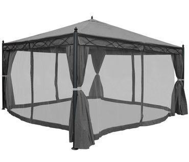Pergola grau 4x4m, Garten Pavillon, stabiles 7cm-Gestell mit Seitenwand + Moskitonetz – Bild 3