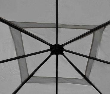 Pergola grau 4x4m, Garten Pavillon, stabiles 7cm-Gestell mit Seitenwand + Moskitonetz – Bild 7
