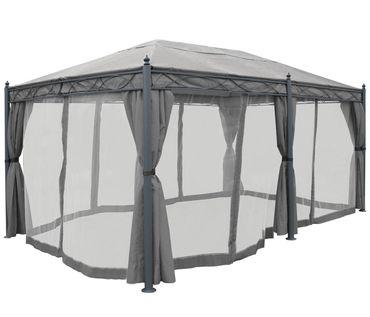 Pergola, Pavillon, stabiles 7cm-Gestell 5x3m ~ grau mit Seitenwand + Moskitonetz – Bild 3
