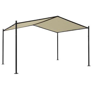 Pergola 4x3m creme, Garten Pavillon Terrassenüberdachung, stabiles 6cm Stahl-Gestell – Bild 1