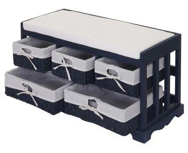 Kommode und Sitzbank mit 5 Schubladen, 77x45x36cm, Shabby-Look, Vintage ~ blau – Bild 3