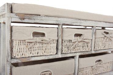 Kommode und Sitzbank mit 5 Schubladen, 77x45x36cm, Shabby-Look, Vintage ~ weiss – Bild 3