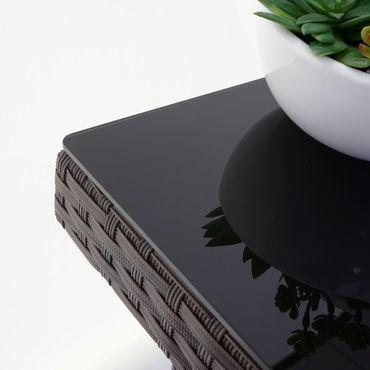 Poly-Rattan Gartentisch Cava, Esstisch Tisch mit Glasplatte, 90x90x74cm ~ braun – Bild 4