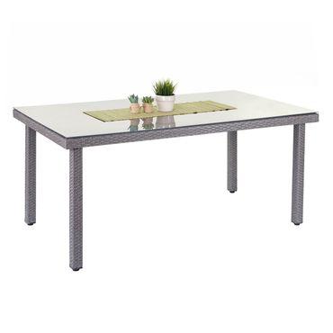 Poly-Rattan Gartentisch Cava, Esstisch Tisch mit Glasplatte, 160x90x74cm ~ grau – Bild 1