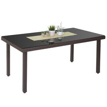 Poly-Rattan Gartentisch Cava, Esstisch Tisch mit Glasplatte, 160x90x74cm ~ braun – Bild 1