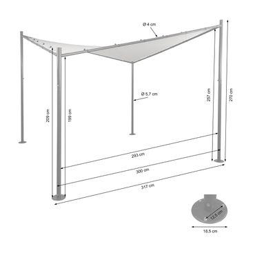 Pergola, Garten Pavillon Sonnensegel, stabiles Stahl-Gestell ~ 3x3m anthrazit – Bild 6