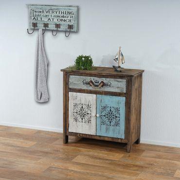 Kommode Funchal mit Wandgarderobe Camden, Schrank Schubladenkommode mit Garderobe Garderobenpaneel, Shabby Vintage – Bild 1