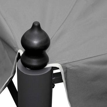 Pergola Garten Pavillon, stabiles 7cm-Gestell mit Seitenwand + Moskitonetz ~ grau 3x3m – Bild 4