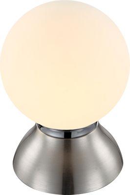 Tischlampe KITTY, Chrom nickel matt, Glas opal, Globo 21928
