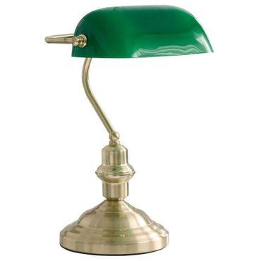 Tischlampe ANTIQUE, messing, Glas grün, Globo 2491 – Bild 1