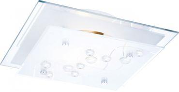 Deckenlampe chrom, Glas satiniert mit Streifen, Dekorsteine klar – Bild 1