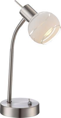 Tischlampe ELLIOTT, nickel matt, Glas satiniert, Globo 54341-1T