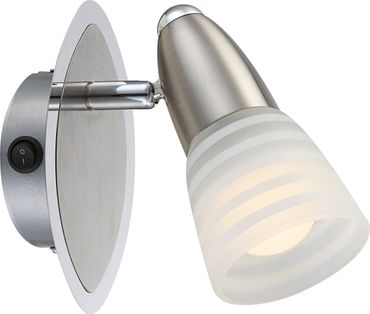 LED Strahler CALEB, Chrom nickel matt, Glas opal, Globo 54536-1