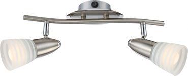 LED Strahler CALEB, Chrom nickel matt, Glas opal, Globo 54536-2 – Bild 1