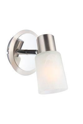 Strahler Chrom Nickel matt, Glas Alabaster Optik Weiss