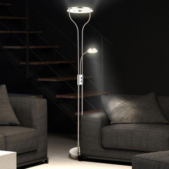 Stehlampe mit Deckenfluter und Leselampe