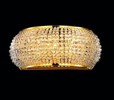 Wandlampe mit geschliffenen Kristallperlen, goldfarbig