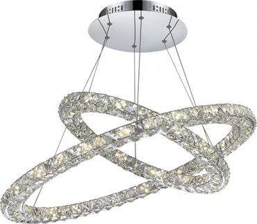 Elegante LED Hängelampe chrom K9 Kristalle klar 64W – Bild 1