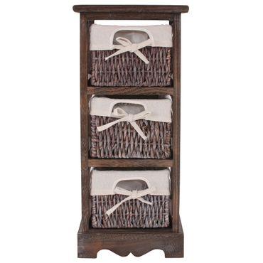 2x Regal Kommode mit 3 Korbschubladen, Shabby-Look – Bild 3