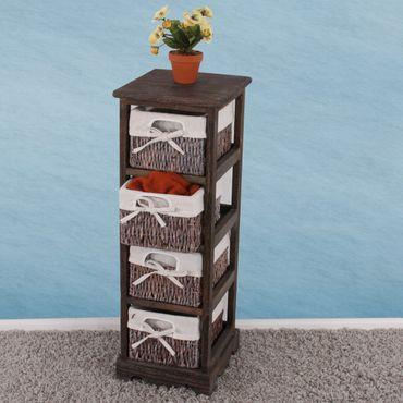 Regal Kommode mit 4 Korbschubladen Shabby-Look – Bild 2