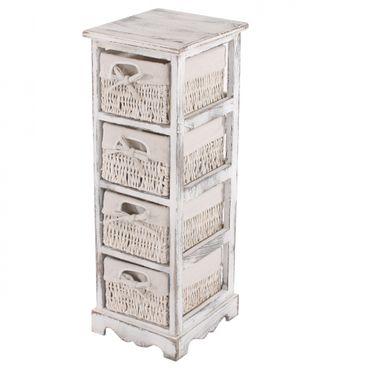 Regal Kommode mit 4 Korbschubladen, Shabby-Look – Bild 1