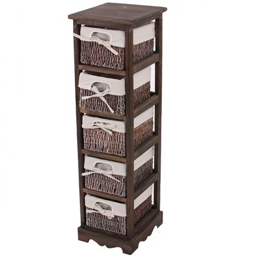 Regal Kommode mit 5 Korbschubladen, Shabby-Look - 9992