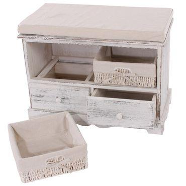 Sitzbank Kommode mit 2 Körben, Shabby-Look, Vintage - 9997 – Bild 7