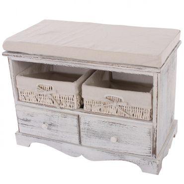 Sitzbank Kommode mit 2 Körben, Shabby-Look, Vintage - 9997 – Bild 1