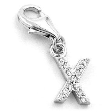 Anhänger, Charm Buchstabe X, Silber 925