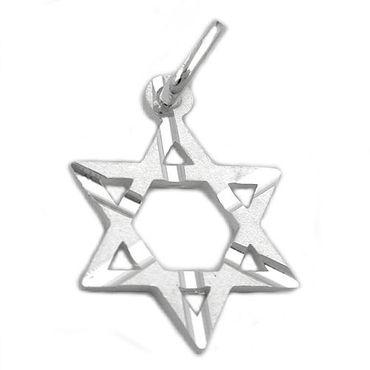 Anhänger, David-Stern matt, Silber 925