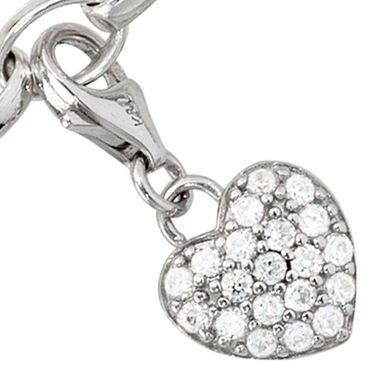 Charm Anhänger Herz 925 Sterling Silber mit Zirkonia, Charms Silberschmuck