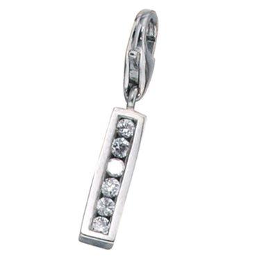 Charm Anhänger Buchstabe I 925 Sterling Silber mit Zirkonia, Charms Silberschmuck