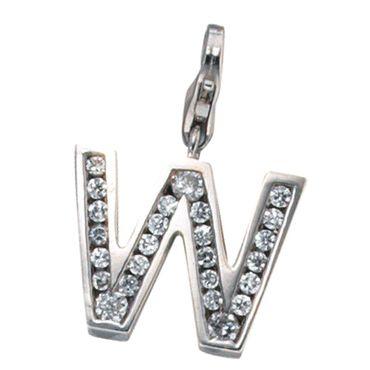 Charm Anhänger Buchstabe W 925 Sterling Silber mit Zirkonia, Charms Silberschmuck