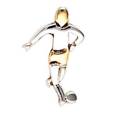 Ohrstecker Fußballer, Ohrschmuck für Männer, Herrenschmuck, 925 Sterling Silber teilvergoldet,
