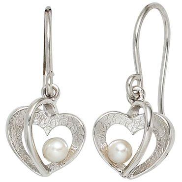 Ohrhaken Herz mit Süßwasser Perlen, 925 Sterling Silber teileismatt, Damen Ohrringe, Ohrschmuck