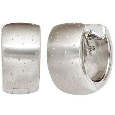 Creolen 925 Sterling Silber rhodiniert mattiert mit Glitzereffekt Ohrringe