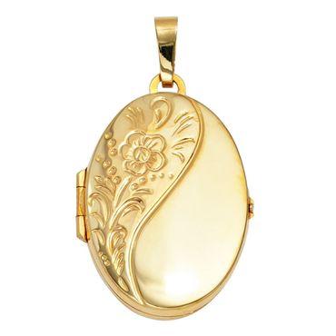 Anhänger Medaillon 925 Sterling Silber vergoldet, Kettenanhänger zum öffnen