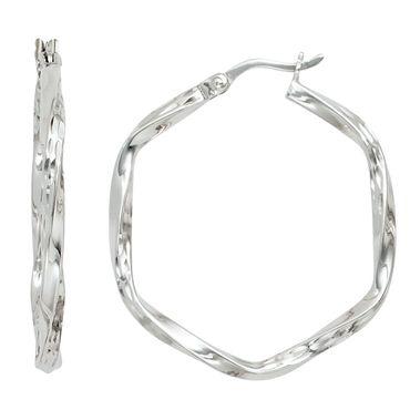 Creolen  Ø 31,2 mm, 925 Sterling Silber rhodiniert diamantiert Ohrringe