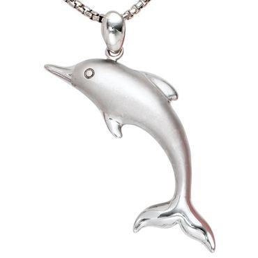 Anhänger Delfin, Kettenanhänger, Tiermotiv Schmuck, 925 Sterling Silber teilmattiert