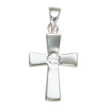 Anhänger Kreuz mit Zirkonia, Kettenanhänger, 925 Sterling Silber, christlicher Schmuck