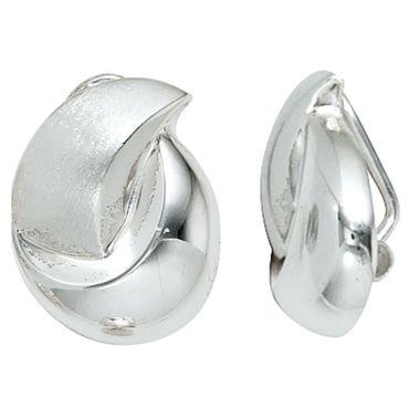 Ohrclips 925 Sterling Silber teilmattiert, Damen Ohrschmuck, Ohrringe
