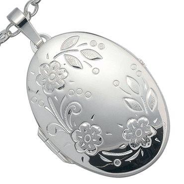 Sehr großes Medaillon oval, 925 Sterling Silber Schmuck, Ketten-Anhänger Amulett zum öffnen