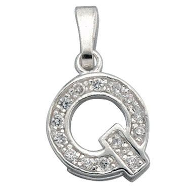 Anhänger Buchstabe Q aus 925 Sterling Silber, Kettenanhänger, Silberschmuck, Halsschmuck