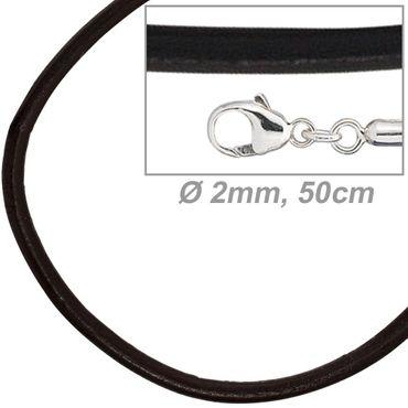 Lederkette schwarz 50 cm lang, Ø 2 mm, Halskette, Verschluss aus  925 Sterling Silber, Halsschmuck
