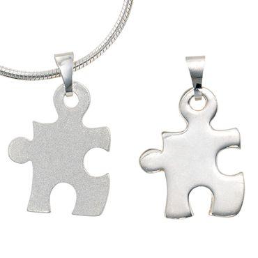 Partner Anhänger Puzzle, 2-teilig aus 925 Sterling Silber, Kettenanhänger, Freundschaftsschmuck