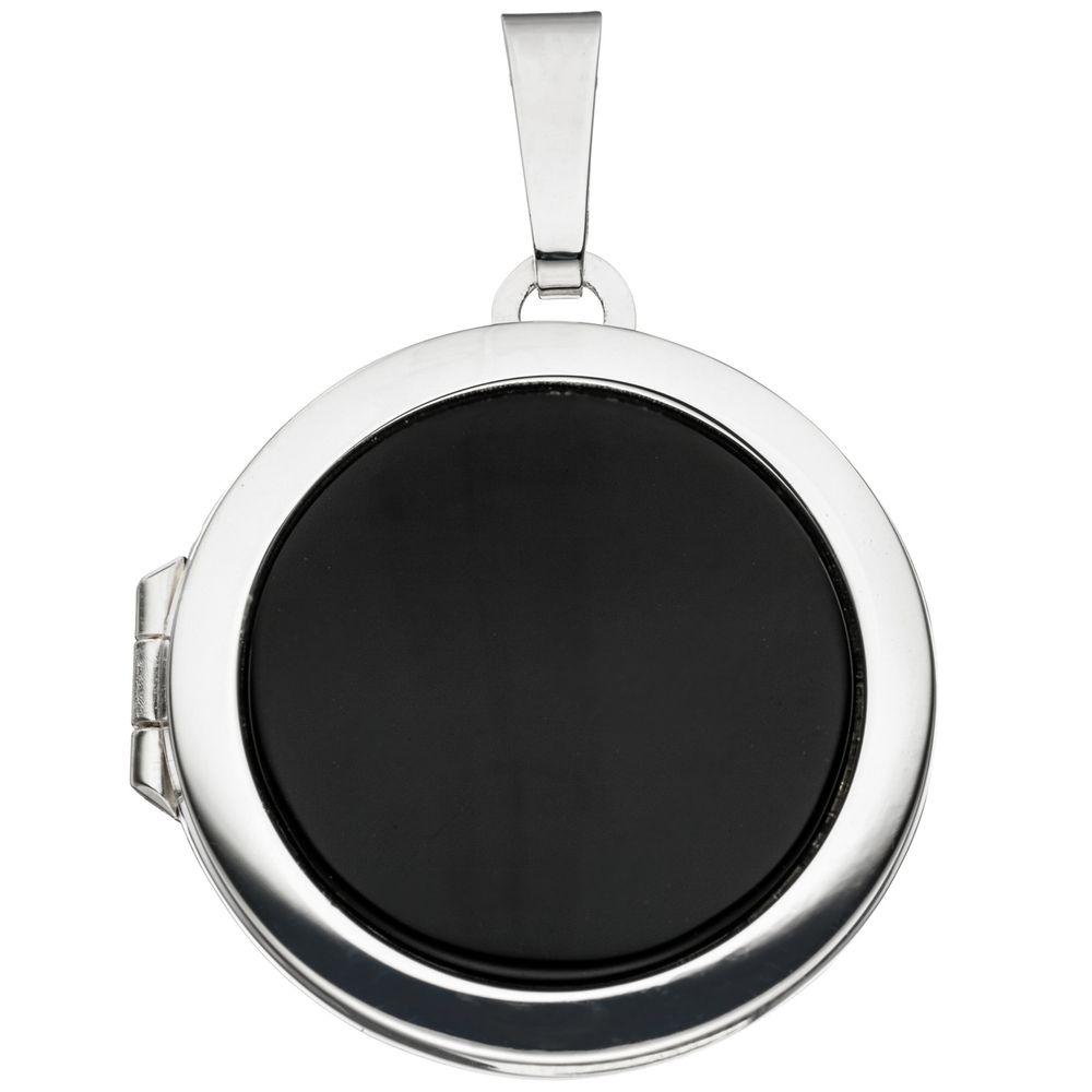 Silber Amulett Anhänger Medaillon Oval mit Onyx oval Kettenanhänger zum Öffnen
