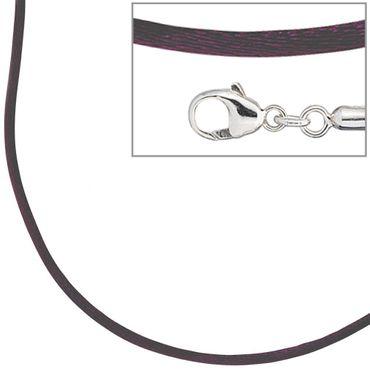 Seidencollier dunkel lila 42 cm, Halsschmuck, Halskette, Seidenband mit 925er Sterling Silber
