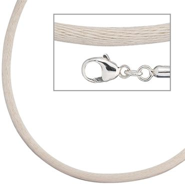Seidencollier beige, 42 cm, Halsschmuck, Halskette, 925 Sterling Silber Verschluss, Schmuck Collier
