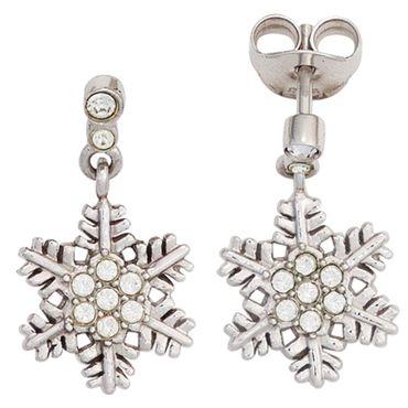 Kinder Ohrhänger Schneeflocke 925 Sterling Silber mit Zirkonia Ohrringe Ohrsteck