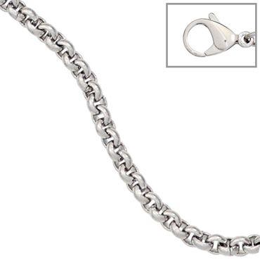 Erbskette 2 mm Edelstahl 45 cm, Rolokette Halskette Kette mit Karabiner, Edelstahlkette